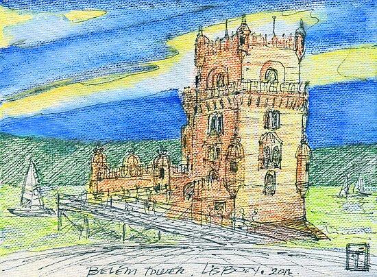 Belém Tower sketch on canvas by terezadelpilar ~ art & architecture