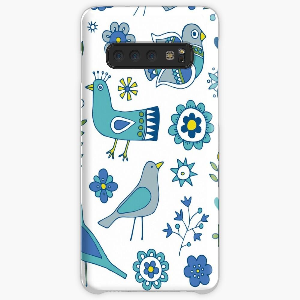 Scandi Folk Birds - blue & white - Scandinavian folk art pattern by Cecca Designs Case & Skin for Samsung Galaxy