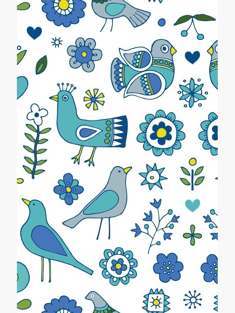 Scandi Folk Birds - blue & white - Scandinavian folk art pattern by Cecca Designs by Cecca-Designs