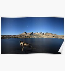 Aloha Lake and Pyramid Peak at Moon Light Poster