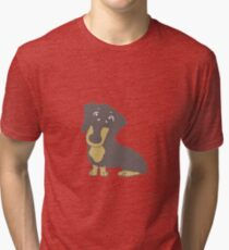 dachshund blue and tan cartoon Tri-blend T-Shirt