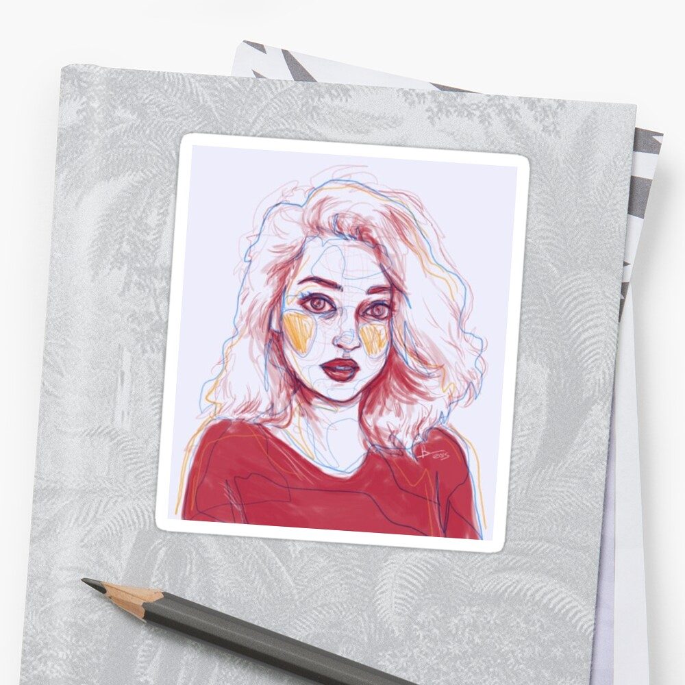 Tumblr Art Girl Pencil Drawing Stickers By Queenvvivy Redbubble