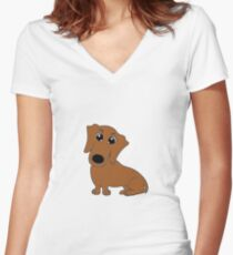 dachshund red cartoon Women's Fitted V-Neck T-Shirt