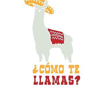Como Te Llamas Funny Llama Spanish Word Humor by cosfrog