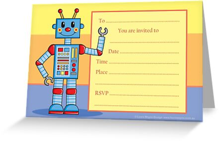 cute little robot birthday party invitation invite greeting cards