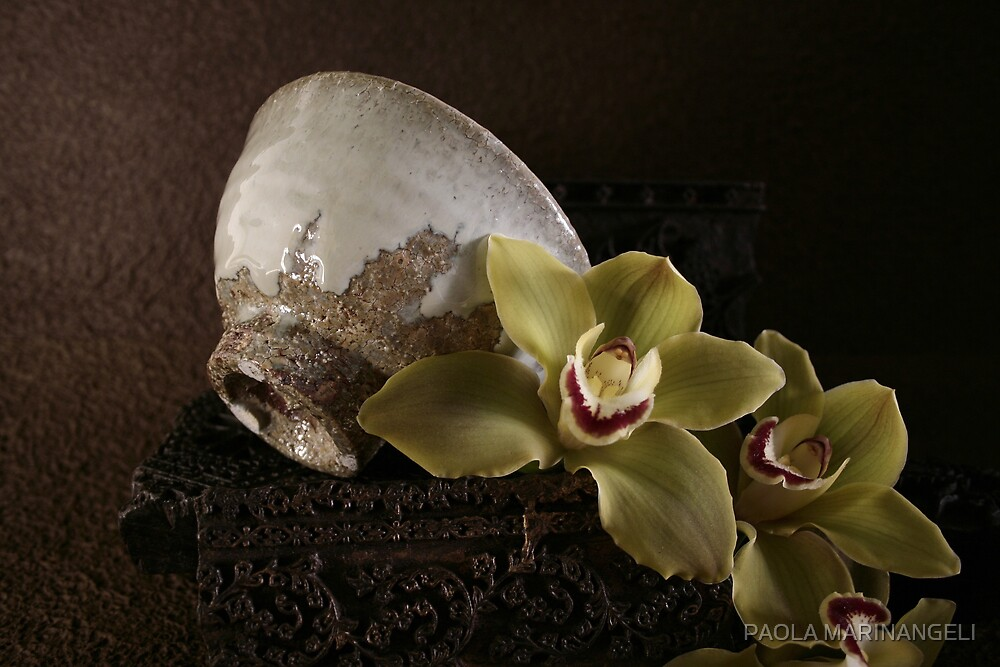 Still life with Chawan and Orchids by PAOLA MARINANGELI