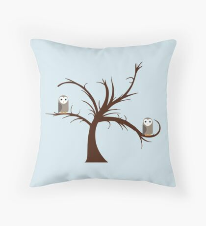 Owls in the Tree Throw Pillow