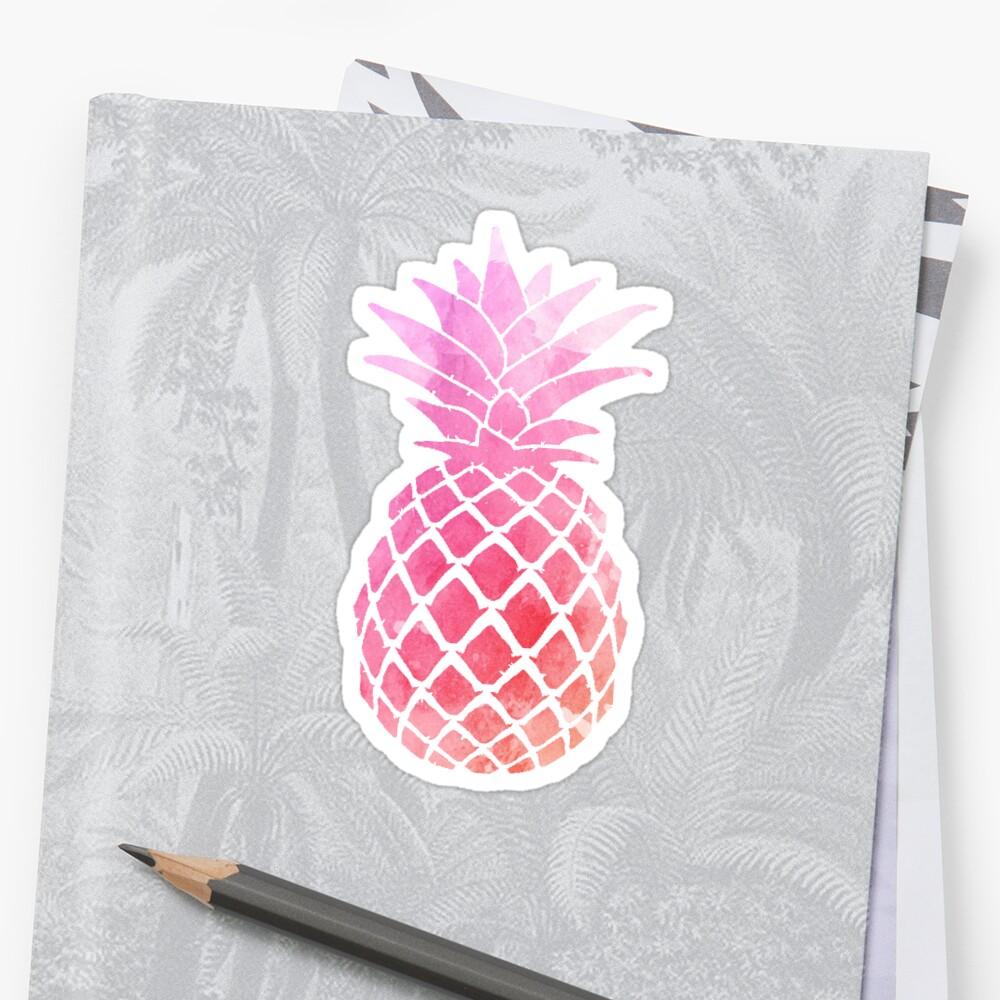 Pineapple sticker : pink watercolor  Sticker