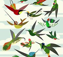 Hummingbirds, after Haekel by Scott Partridge