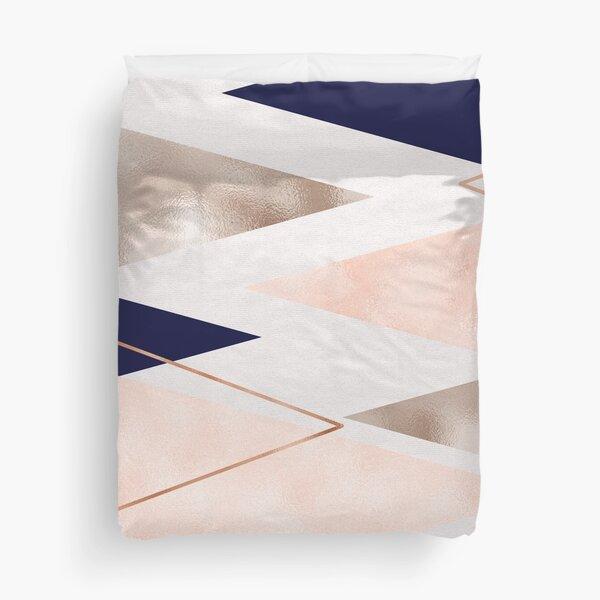 Rose gold french navy geometric Duvet Cover