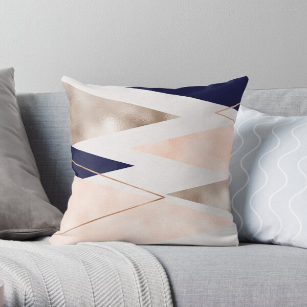 Rose gold french navy geometric Throw Pillow