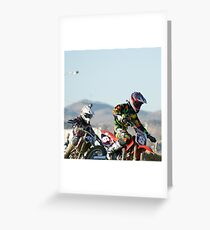 Two Boys; A Day In The Dirt; Throttle push presses the win; Palmdale, CA Days In The Dirt 2008 Greeting Card