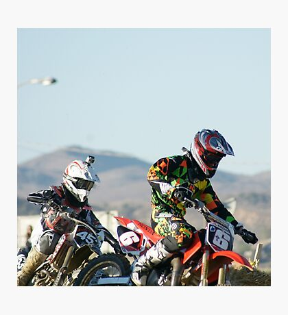 Two Boys; A Day In The Dirt; Throttle push presses the win; Palmdale, CA Days In The Dirt 2008 Photographic Print