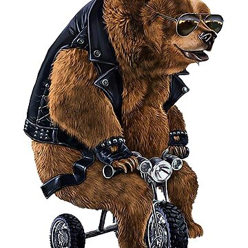 Punk Rock Grizzly Bear Riding Mini Tricycle by Meli145