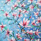 Magnolias on Blue by Ira Mitchell-Kirk