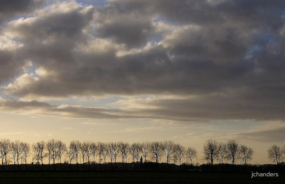 A Dutch treeline with dark clouds by jchanders