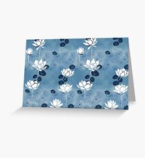 Pure zen waterlily pattern in blue and white Greeting Card