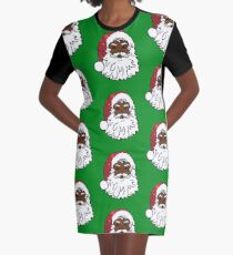 black santa claus Graphic T-Shirt Dress