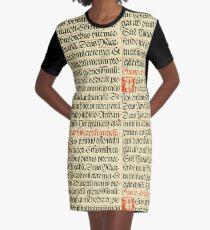 Vintage Retro Calligraphic Calligraphy Oratio (speak) Graphic T-Shirt Dress