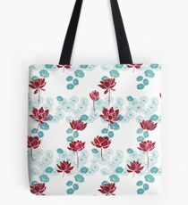 Pure zen waterlily pattern in red and white Tote Bag