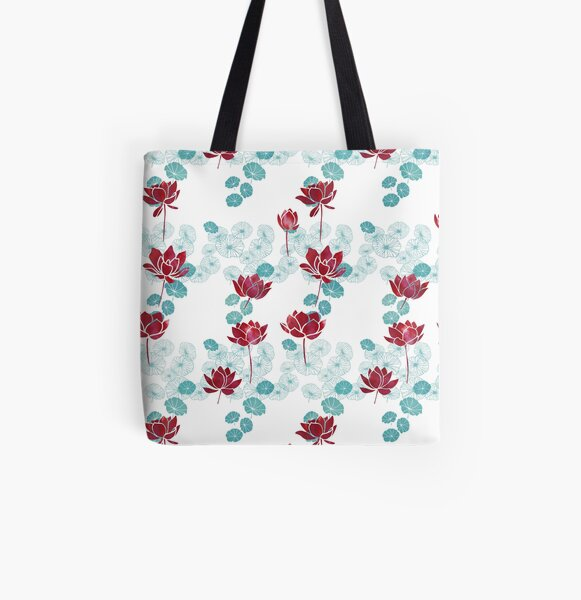 Pure zen waterlily pattern in red and white All Over Print Tote Bag