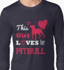 This Girl Loves Her Pitbull (Pink) - Pit Bull T-Shirt For Women Long Sleeve T-Shirt