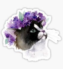 Cat in a Wreath of Lilac Sticker
