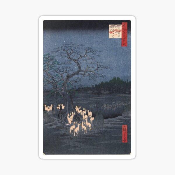 Utagawa Hiroshige - Foxfires at the Changing Tree Sticker