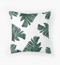 Banana Leaf #Watercolor Pattern #redbubble Throw Pillow