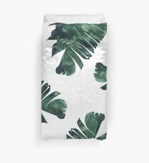 Banana Leaf #Watercolor Pattern #redbubble Duvet Cover