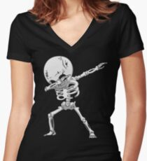 Dabbing Skeleton Halloween Funny Zombie Dab Dance T Shirt Women's Fitted V-Neck T-Shirt