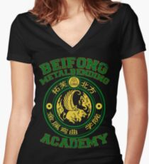 Beifong Metalbending Academy - Green & Gold Women's Fitted V-Neck T-Shirt