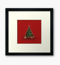 Christmas Tree red background Framed Print