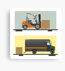 Forklift Truck. Delivery Van. Logistics Industry. Heavy Transportation. Cargo Transportation. Delivery Service. Flat Style Canvas Print