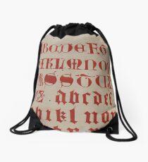 Alphabet page from a 14th century manuscript Drawstring Bag