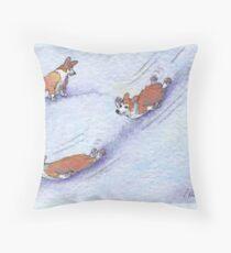 Wheeee! Corgi dogs snow sliding Throw Pillow