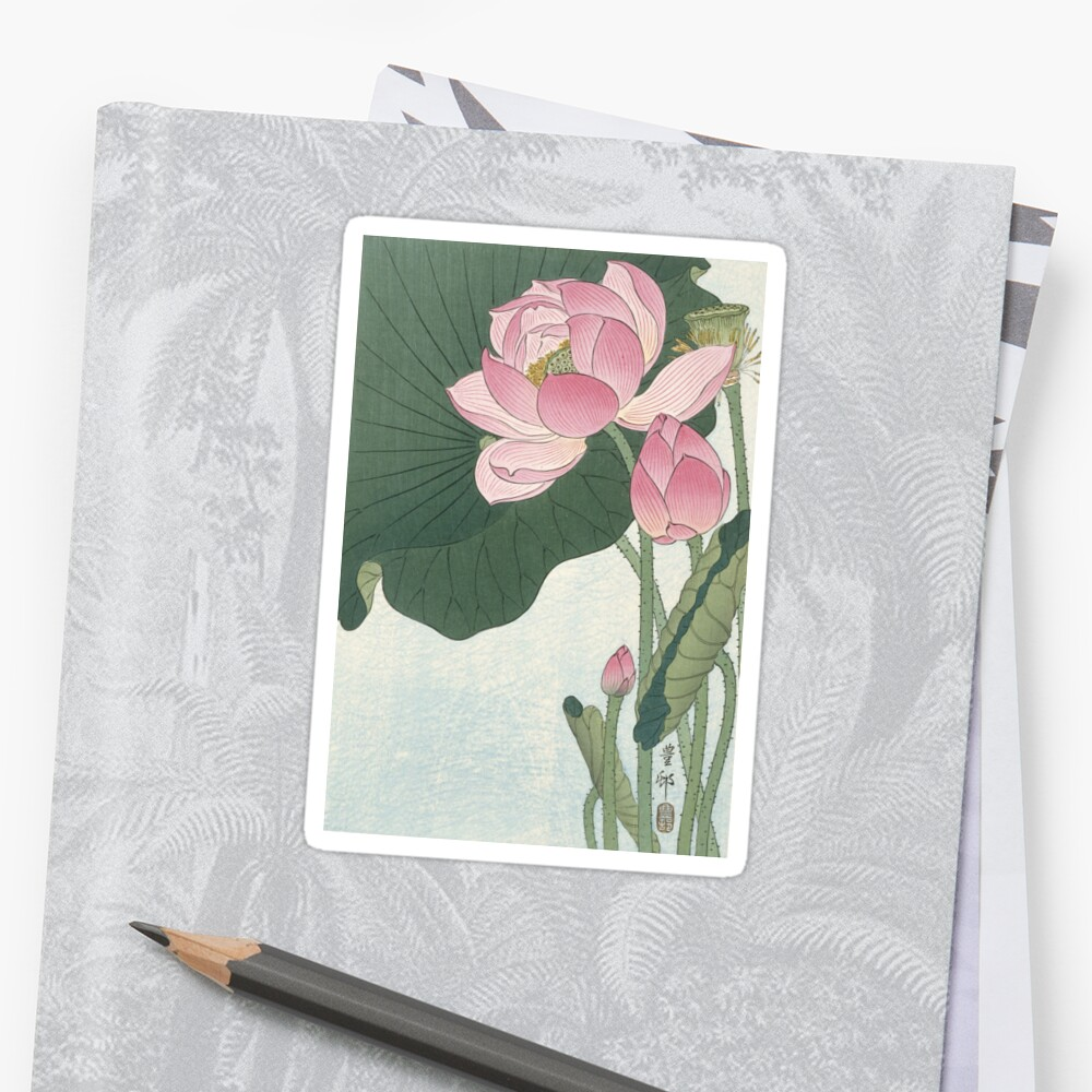 Lotus Flower Japanese Block Print Stickers By Fineearth Redbubble