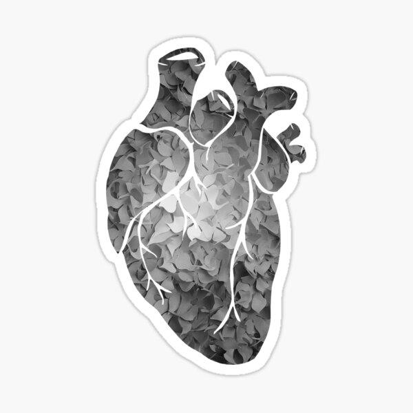 Black and white flower heart Sticker