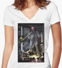Cyberpunk Photography 048 Women's Fitted V-Neck T-Shirt