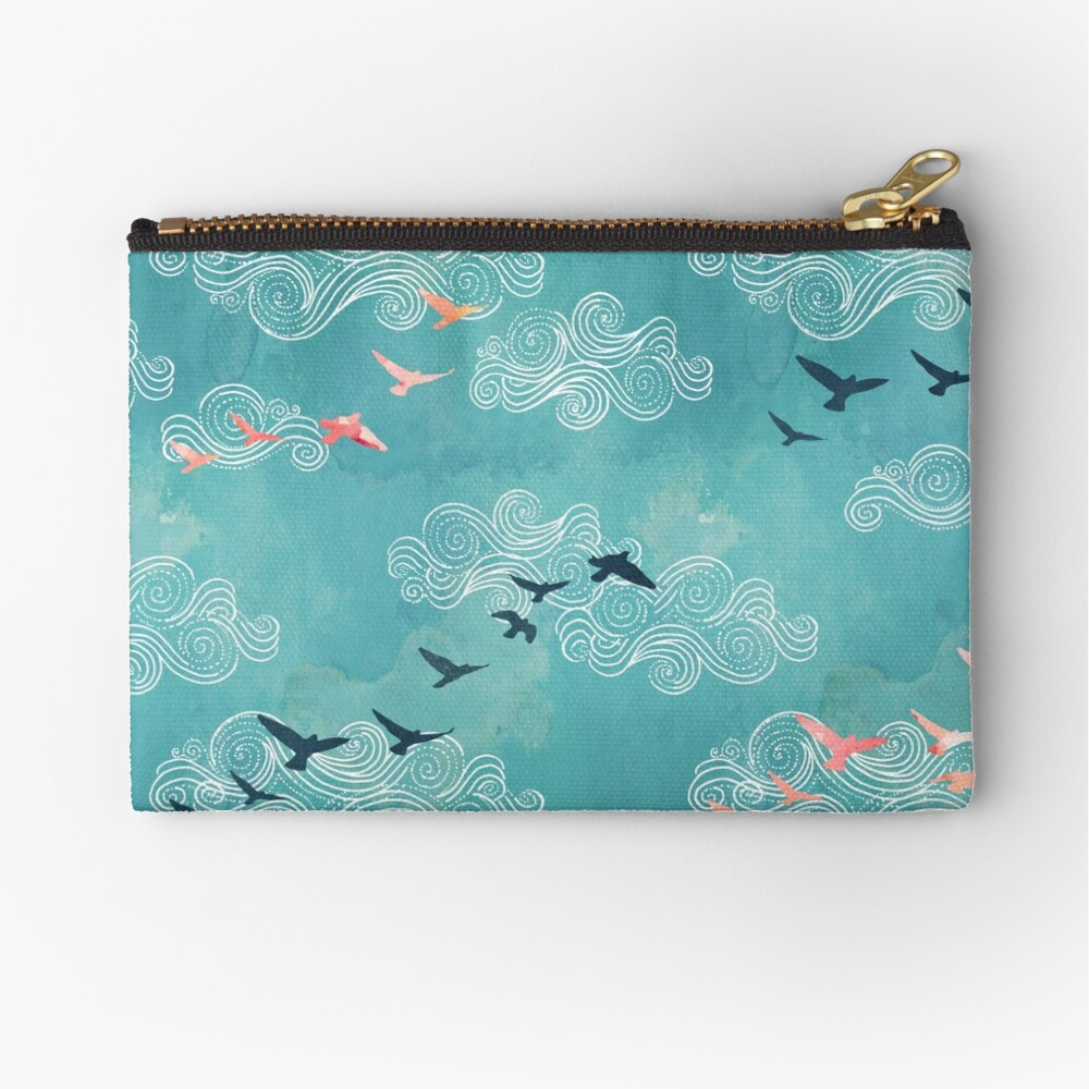 Blue sky birds Zipper Pouch
