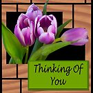 Thinking Of You Purple Tulips Card by daphsam