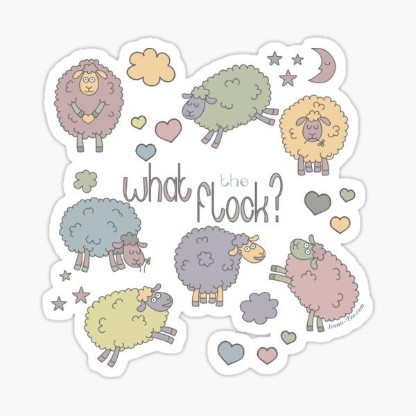 Funny Sheep What the Flock Sticker