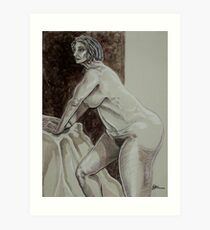Leaning Female Nude (Drawing)- Art Print