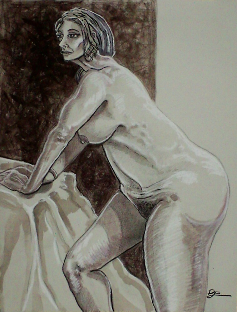 Leaning Female Nude (Drawing)- by Robert Dye