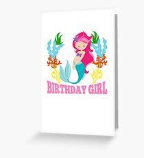 Süße Geburtstagskinder - Geburtstagskind Meerjungfrau mit Korallen Grußkarte