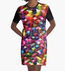 Colorful Cubes Graphic T-Shirt Dress