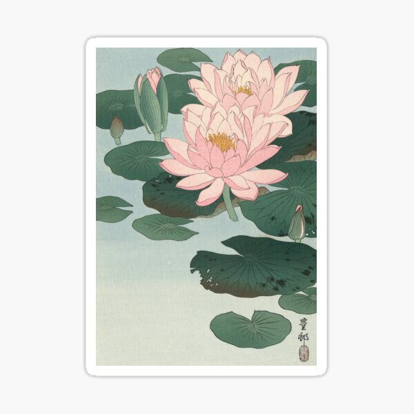Flowering Water Lily, Ohara Koson Sticker