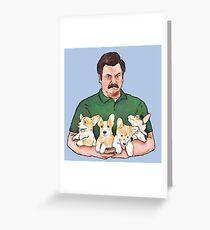 Ron Swanson Holding Corgi Puppies Greeting Card