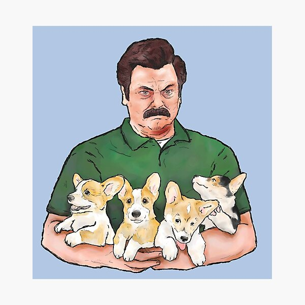 Ron Swanson Holding Corgi Puppies Photographic Print