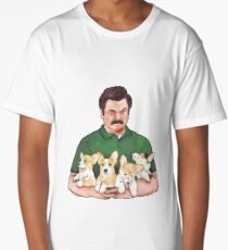 Ron Swanson Holding Corgi Puppies Long T-Shirt
